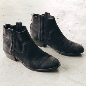 Dolce Vita Shoes - Dolce Vita Dark Grey Suede Back Zip Ankle Booties